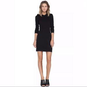James Perse Black Brushed Fleece Hooded Dress LBD